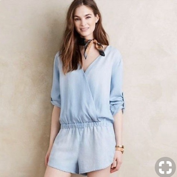 082025d1f5dc0 cloth & stone Pants | Anthropologie Chambray Romper By Cloth Stone ...